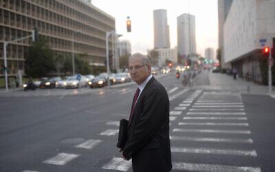 David Shimron, then Prime Minister Benjamin Netanyahu's personal lawyer, in Tel Aviv on February 17, 2015. (Ben Kelmer/Flash90)