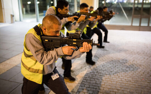 Illustrative: Members of a Knesset security team take part in a defense drill against terror attacks, at the Knesset in Jerusalem, on February 26, 2017. (Maor Kinsbursky/ Flash90/File)