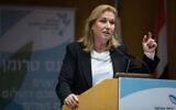 Tzipi Livni speaks at a conference in Jerusalem on March 11, 2019 (Noam Revkin Fenton/Flash90)