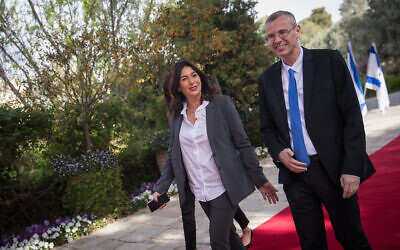 Likud ministers Yariv Levin (R) and Miri Regev arrive for a meeting with Reuven Rivlin at the President's Residence in Jerusalem on April 15, 2019. (Yonatan Sindel/Flash90)