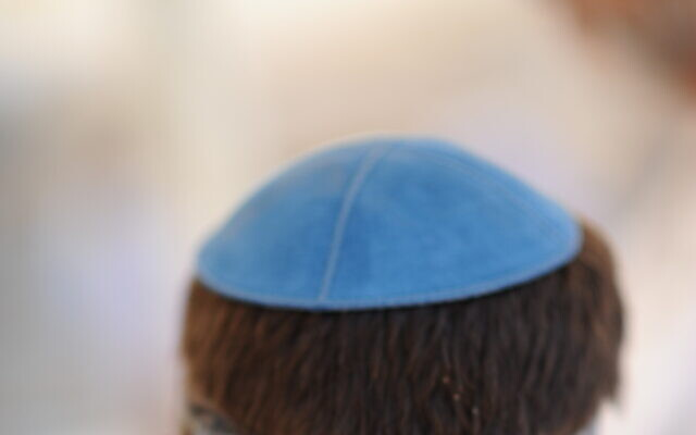 Illustrative photo of a man wearing a kippa headcovering, June 07, 2020. (Mendy Hechtman/FLASH90)