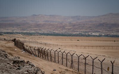 View of the border between Israel and Jordan, in the Jordan valley, in the West Bank on June 17, 2020. (Yaniv Nadav/Flash90)