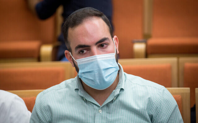 Eli Bar Zakai, the driver accused of causing the death of Ayalon Shalev-Amsalem, at Tel Aviv District Court on July 21, 2020. (Miriam Alster/Flash90)