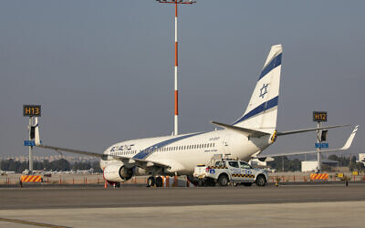 Illustrative: El Al planes, parked at the Ben Gurion Airport in Lod, Israel, on August 03, 2020. (Olivier Fitoussi/Flash90)