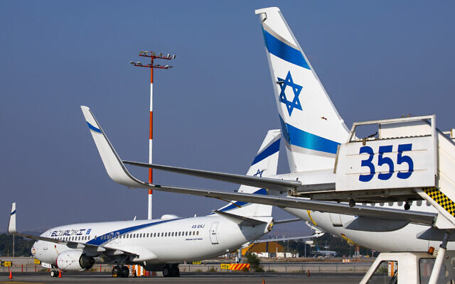 El Al planes parked at Ben Gurion Airport in Lod, Israel, on August 03, 2020 (Olivier Fitoussi/Flash90)