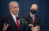 Prime Minister Benjamin Netanyahu and Public Security Minister Amir Ohana in Tel Aviv, on December 1, 2020. (Miriam Alster/Flash90)