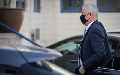 Defense Minister Benny Gantz, the interim justice minister, arrives at the Justice Ministry in Jerusalem on January 4, 2021. (Olivier Fitoussi/Flash90)