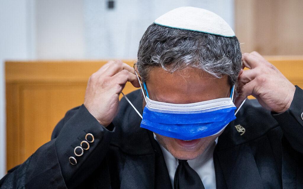Otzma Yehudit leader Itamar Ben Gvir arrives for a court hearing at the Supreme Court in Jerusalem on February 24, 2021. (Yonatan Sindel/Flash90)