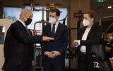 Prime Minister Benjamin Netanyahu , Austrian Chancellor Sebastian Kurz and Danish Prime Minister Mette Frederiksen visit a Gym in Modi'in, March 4, 2021 (Avigail Uzi/POOL)