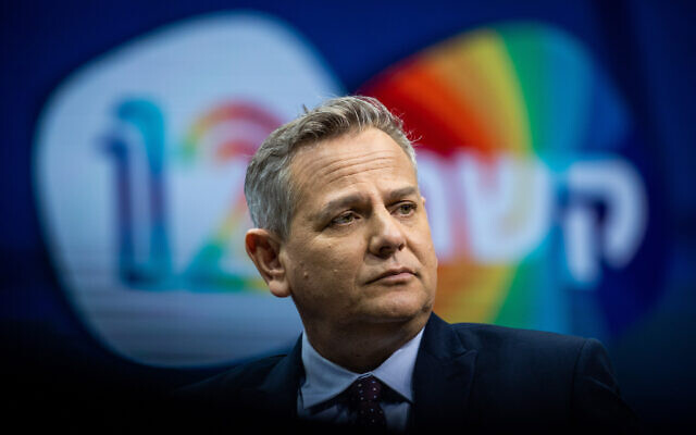 Head of the left wing Meretz party Nitzan Horowitz attends a Channel 12 News conference in Jerusalem on March 7, 2021. (Yonatan Sindel/Flash90)