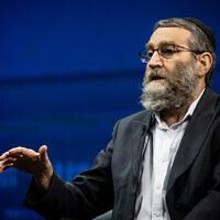 United Torah Judaism leader MK Moshe Gafni at a conference in Jerusalem on March 7, 2021. (Yonatan Sindel/Flash90)