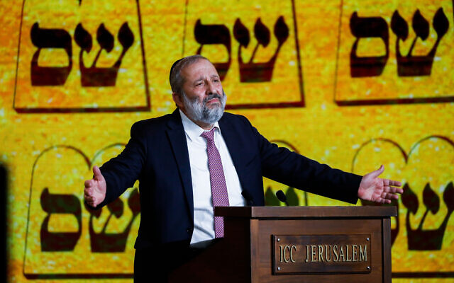 Shas party chief Aryeh Deri speaks at an election rally in Jerusalem on March 11, 2021. (Olivier Fitoussi/Flash90)