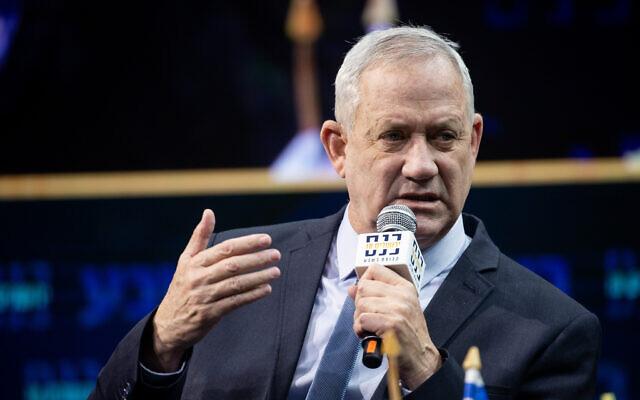 Defense Minister Benny Gantz speaks at the annual Jerusalem Conference of the 'Besheva' group in Jerusalem, on March 14, 2021. (Yonatan Sindel/Flash90)