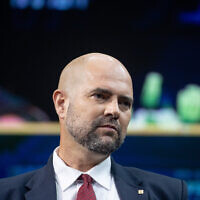 Public Security Minister Amir Ohana at the annual Jerusalem Conference of the 'Besheva' group in Jerusalem, on March 15, 2021. (Yonatan Sindel/Flash90)