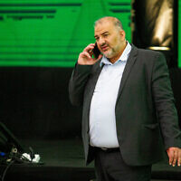 Ra'am party leader Mansour Abbas at the party headquarters in Tamra, on election night, March 23, 2021. (Flash90)
