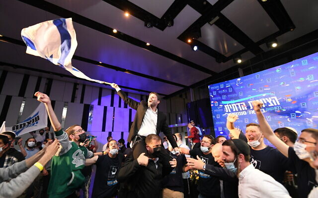 Religious Zionism head Bezalel Smotrich celebrates election results on March 23, 2021. (Sraya Diamant/Flash90)