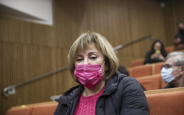 Former Yisrael Beytneu MK Faina Kirschenbaum seen at the Tel Aviv District Court, March 25, 2021. (Miriam Alster/Flash90)