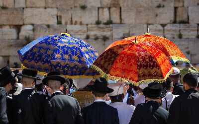 Jewish worshippers in front of the Western Wall during the Passover priestly blessing, March 29, 2021 (Olivier Fitoussi/Flash90)T