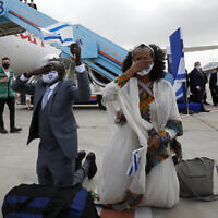 Ethiopian Immigrants arrive in Israel as part of Operation Tzur Israel, March 11, 2021. (Olivier Fitoussi/Flash90)