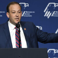 US Rep. Lee Zeldin (R-NY) speaks during the Republican Jewish Coalition's annual leadership meeting at The Venetian Las Vegas ahead of an appearance by then-US President Donald Trump; on April 6, 2019 in Las Vegas, Nevada. (Ethan Miller/Getty Images)