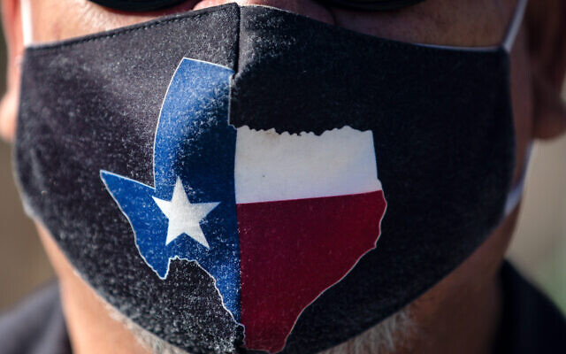 A Texas mask on March 3, 2021 in Austin, Texas. (Montinique Monroe/Getty Images via JTA)