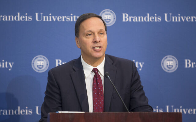 Brandeis University President Ron Liebowitz speaks at a news conference in Waltham, Massachusetts, October 2, 2017. (Scott Eisen/Getty Images via JTA)