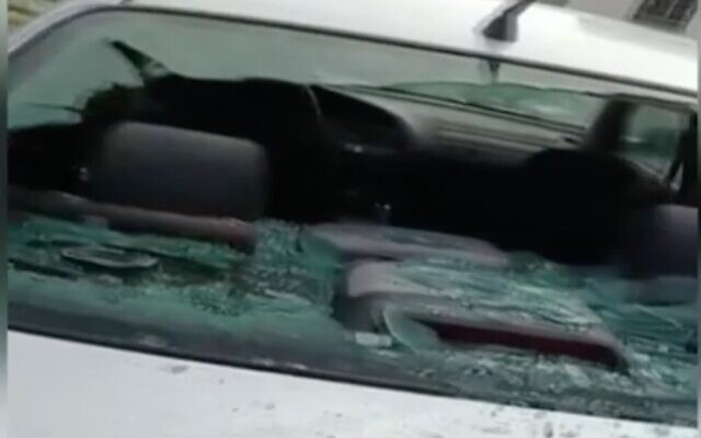 Screen capture from video a car damage in a suspected hate crime in the West Bank Palestinian village of Huwara, March 2, 2021. (Channel 12 News)