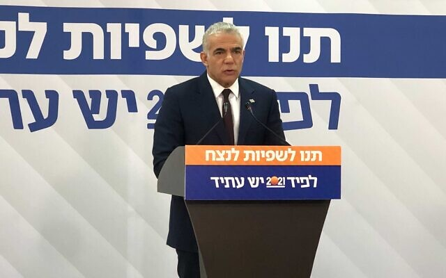 Yesh Atid chairman MK Yair Lapid give a press conference in Tel Aviv, March 16, 2021. (Tal Schnider/Times of Israel)