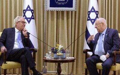 Illustrative: President Reuven Rivlin (R) hosts the new special UN coordinator for the Middle East peace process, Tor Wennesland, at the President's Residence in Jerusalem on March 21, 2021. (Mark Neyman, GPO)