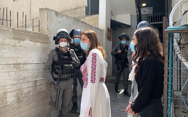 Israel Police close down an International Women's Day event at the A-Tur Women's Center in East Jerusalem, March 8, 2021 (Courtesy)