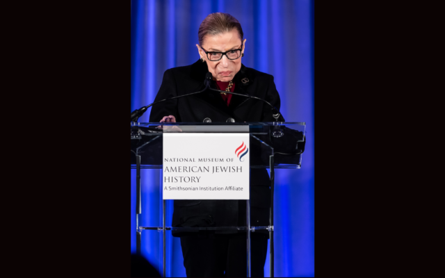 US Supreme Court Justice Ruth Bader Ginsburg speaks at the National Museum Of American Jewish History in Philadelphia, Dec. 19, 2019. (Gilbert Carrasquillo/Getty Images via JTA)