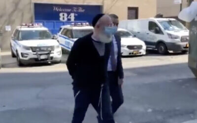 Gershon Kranczer is brought to a Brooklyn courthouse for an arraignment hearing after being extradited by Israel, March 11, 2021. (Screen capture: New York Post)