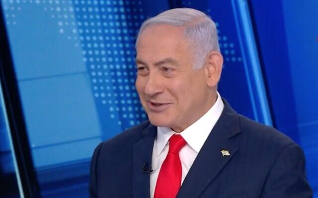 Prime Minister Benjamin Netanyahu in a Channel 12 interview, March 20, 2021 (Channel 12 screenshot)