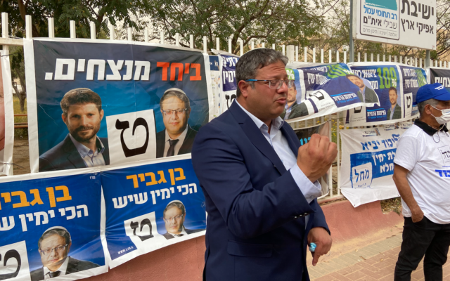 Itamar Ben Gvir at a polling station in Ofakim during election day, March 23, 2021. (Jacob Magid/Times of Israel)