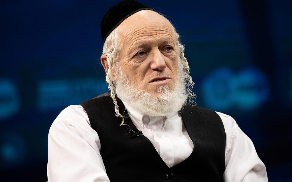 Yehuda Meshi-Zahav, co-founder of ZAKA, speaks at a conference in Jerusalem, March 7, 2021. (Yonatan Sindel/Flash90)