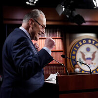 Senate Majority Leader Chuck Schumer of N.Y., speaks during a news conference after the Senate passed a COVID-19 relief bill in Washington, March 6, 2021. (AP Photo/J. Scott Applewhite)