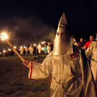 "llustrative: MIembers of the Ku Klux Klan participate in cross burnings after a ""White Pride,"" rally, in rural Paulding County near Cedar Town, Georgia, April 23, 2016. (AP Photo/John Bazemore)"