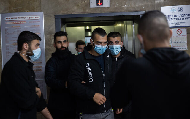 Ibrahim Hamed, the driver who was accused of running over a man in the Mea Shearim neighborhood of Jerusalem, outside the traffic police headquarter after he was released from custody, March 2, 2021, in Jerusalem. (Yonatan Sindel/Flash90)