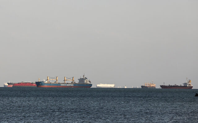Cargo ships idle in the Gulf of Suez, March 26, 2021. (AP Photo/Mohamed Elshahed)