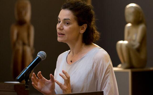 Romanian Jewish actress Maia Morgenstern speaks in Bucharest, Romania, June 15, 2016. (AP Photo/Vadim Ghirda)