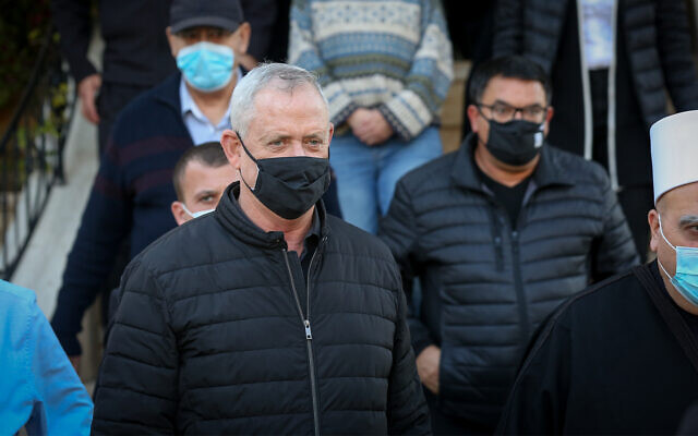 Defense Minister Benny Gantz during a visit in the Druze village of Julis, northern Israel, February 23, 2021. (David Cohen/Flash90)