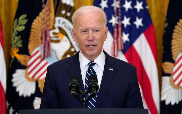 US President Joe Biden speaks during a news conference in the East Room of the White House, March 25, 2021, in Washington. (AP Photo/Evan Vucci)