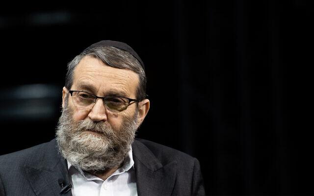 United Torah Judaism's Moshe Gafni attends a conference in Jerusalem, March 7, 2021. (Yonatan Sindel/Flash90)
