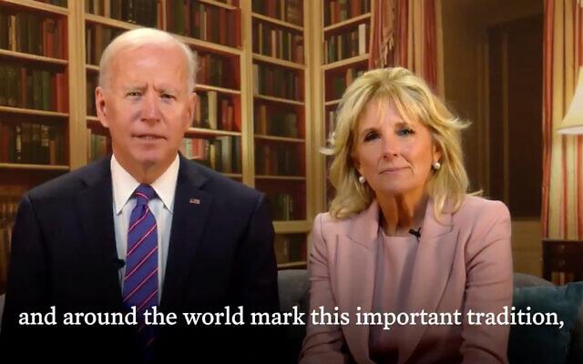 US President Joe Biden and First Lady Jill Biden issue a Passover statement, March 26, 2021. (Screenshot/Twitter)
