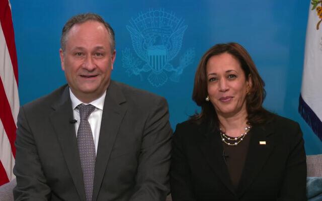 US second gentleman Doug Emhoff and US Vice President Kamala Harris make a Passover statement, March 25, 2021. (Screenshot/YouTube)