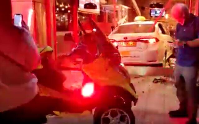 A taxi that crashed into a Tel Aviv restaurant, March 20, 2021. (Screenshot)