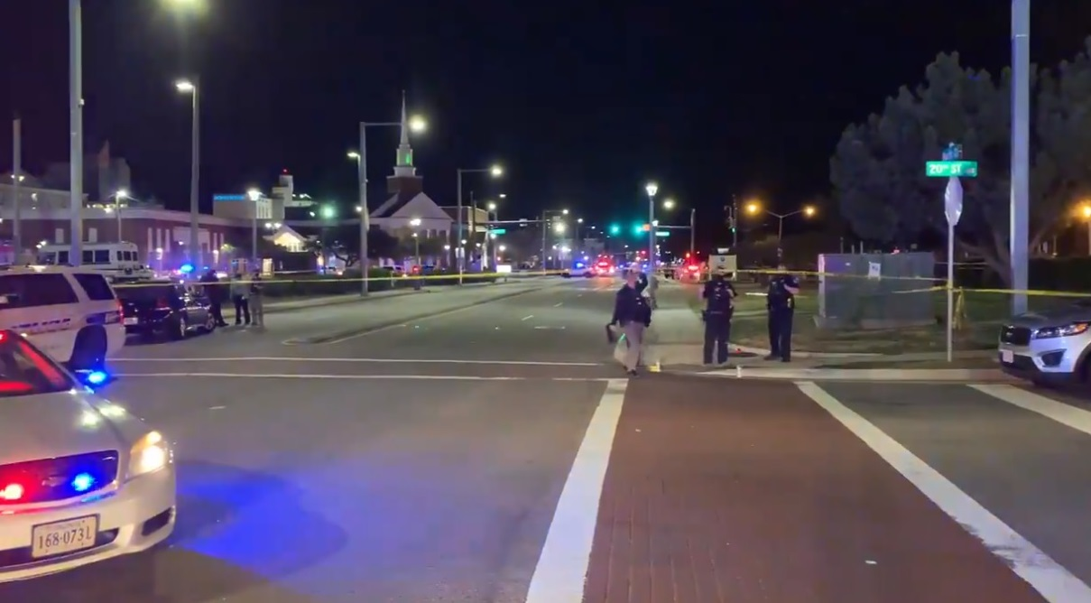 Police respond to a shooting at the Virginia Beach Oceanfront area in Virginia Beach