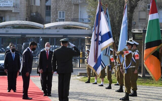 The UAE's first ambassador to Israel, Mohammad Mahmoud Al Khajah, arrives to presents his credentials to President Reuven Rivlin in Jerusalem on March 1, 2021. (Mark Neyman/GPO)