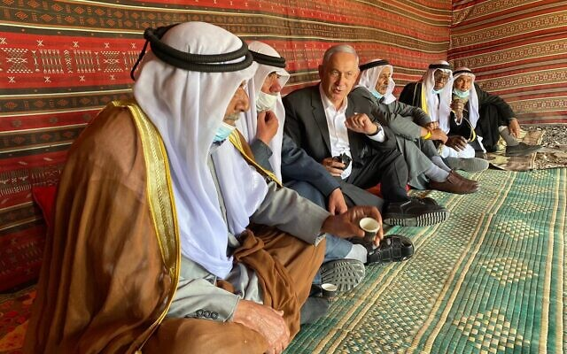 Prime Minister Benjamin Netanyahu in the Bedouin town of Rahat on March 7, 2021. (Courtesy)