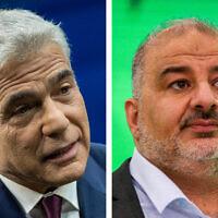 Yair Lapid (L) and Mansour Abbas (R) (Flash90)